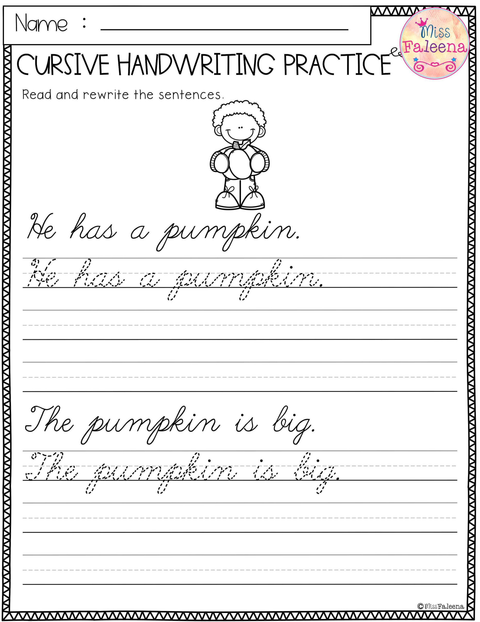 Free Cursive Handwriting. This Product Has 5 Pages Of