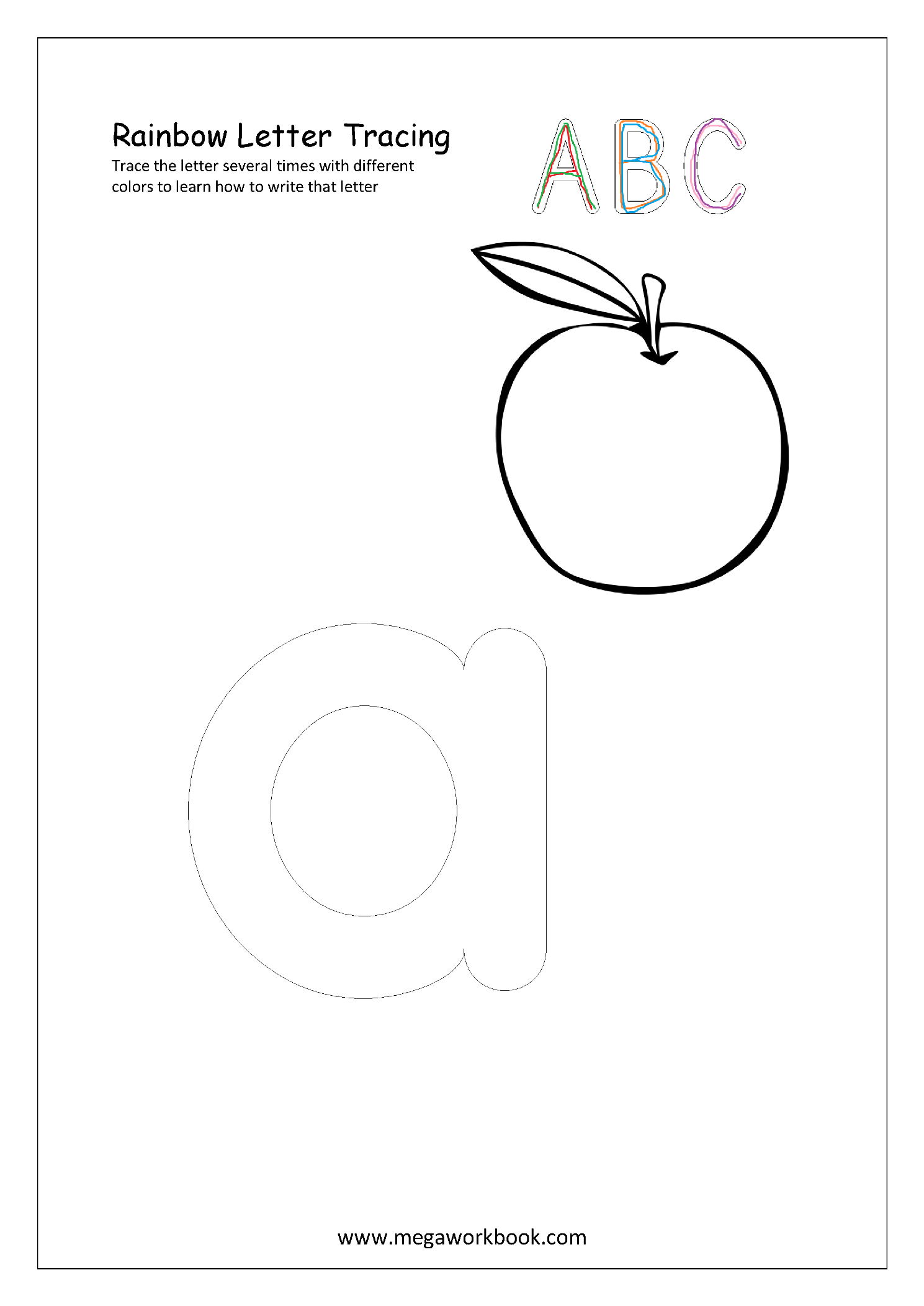 Rainbow Writing Letters Worksheets