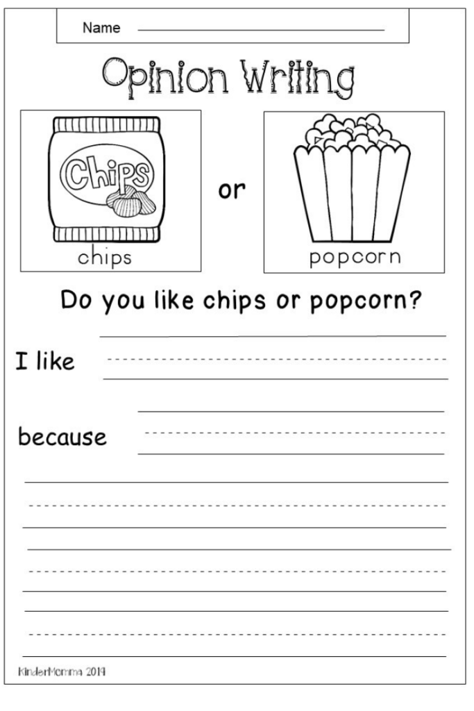Free Opinion Writing Worksheet For Early Elementary