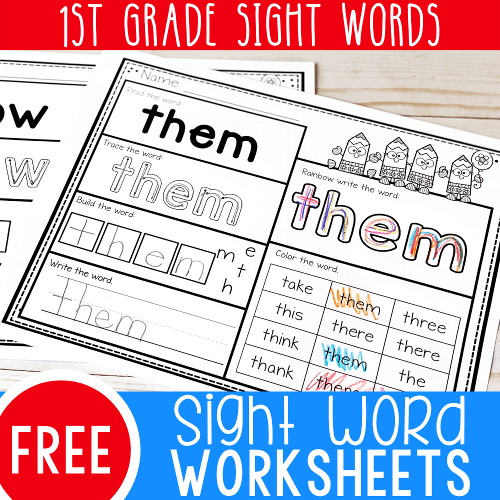Free Printable First Grade Sight Words Worksheets -