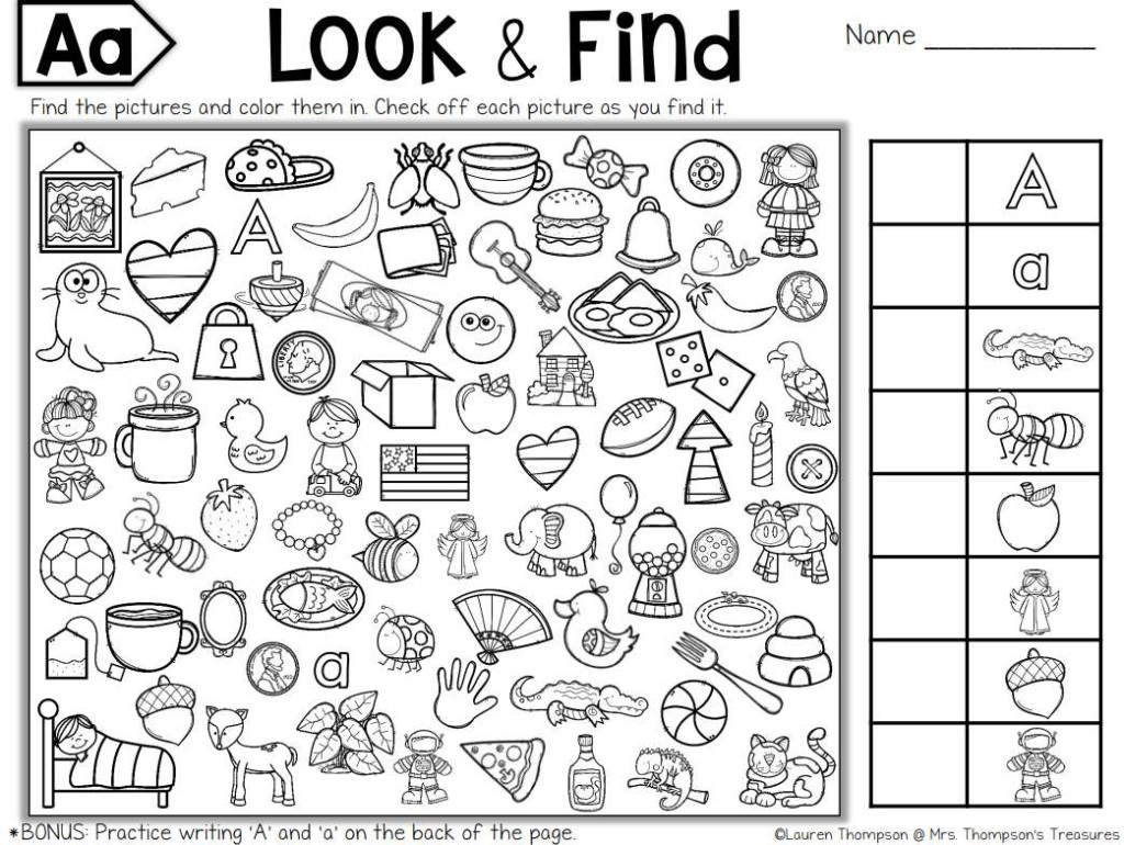 Free Printable Hidden Puzzles For Kids Objects Worksheets