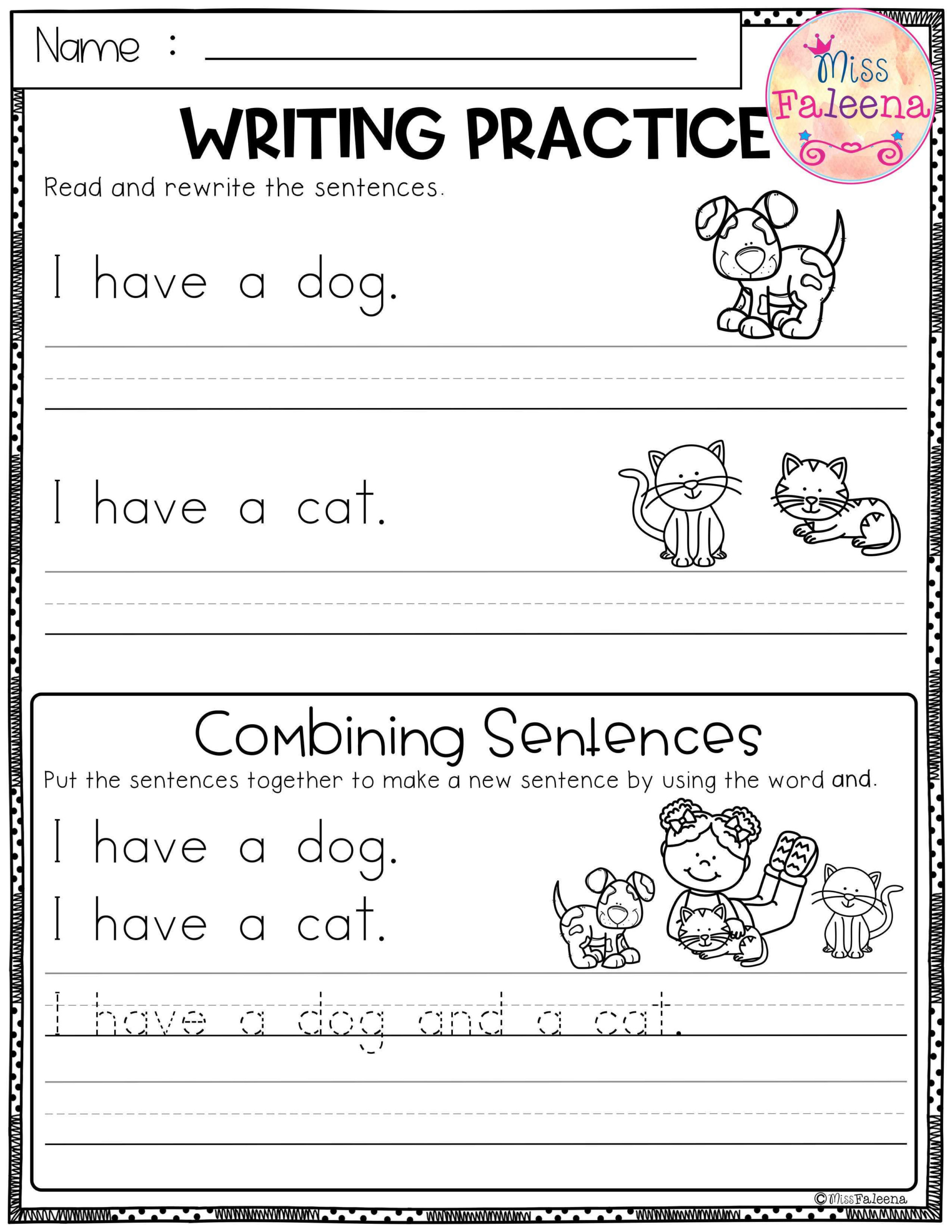 Free Writing Practice (Combining Sentences). This Product