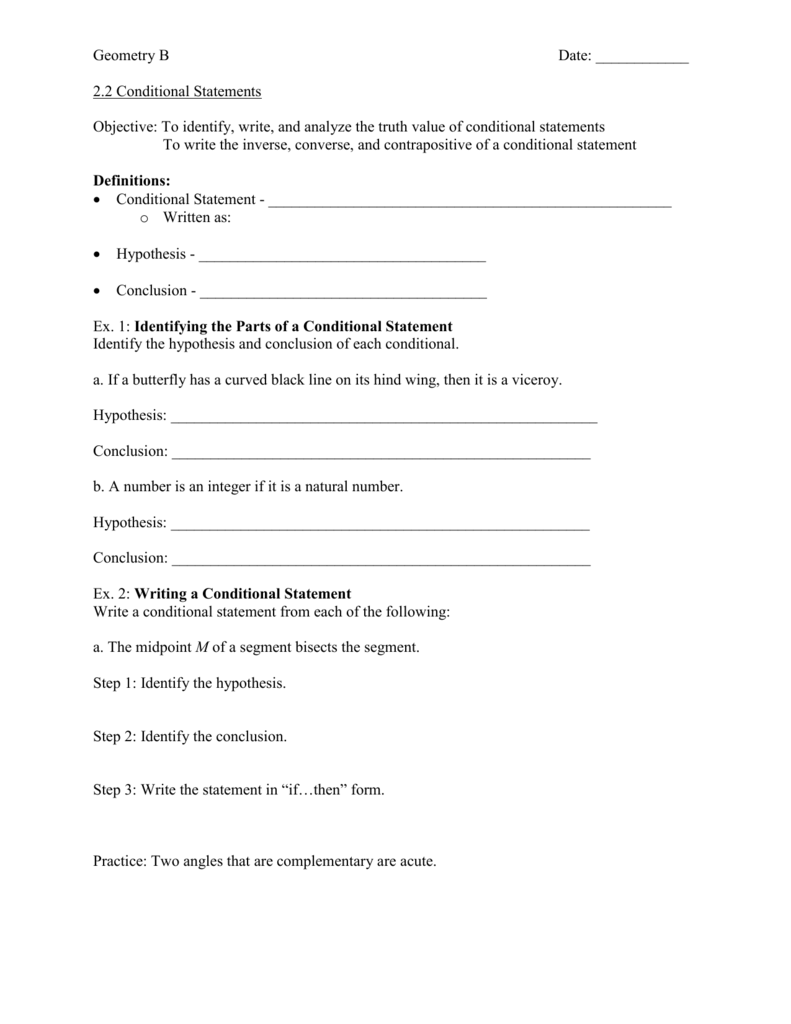 Writing Conditional Statements Worksheet