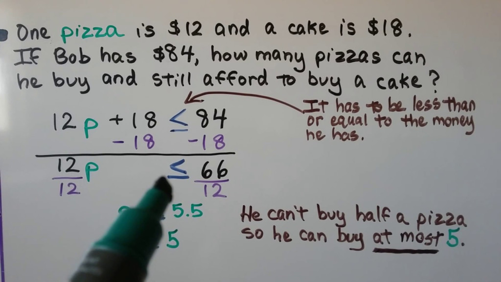 Grade 7 Math 7.2, Writing Two Step Inequalities From Word Problems