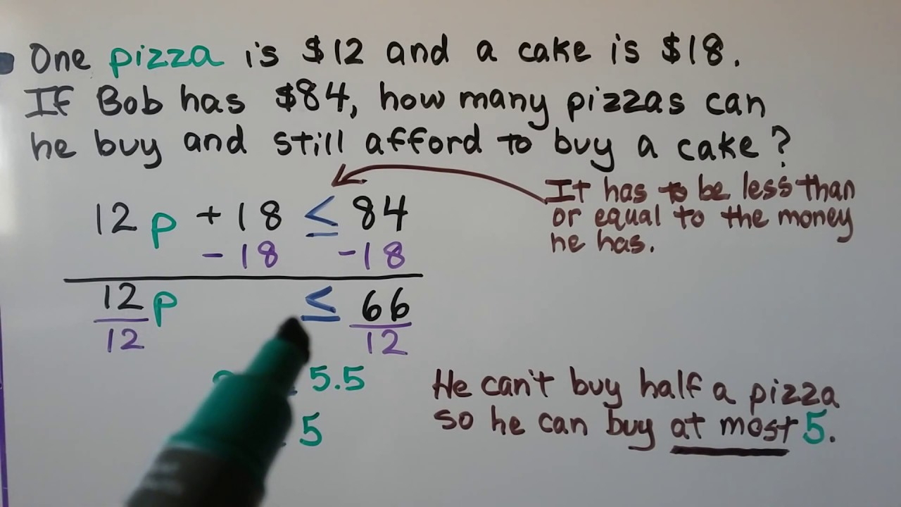 Grade 7 Math 7.2, Writing Two-Step Inequalities From Word Problems