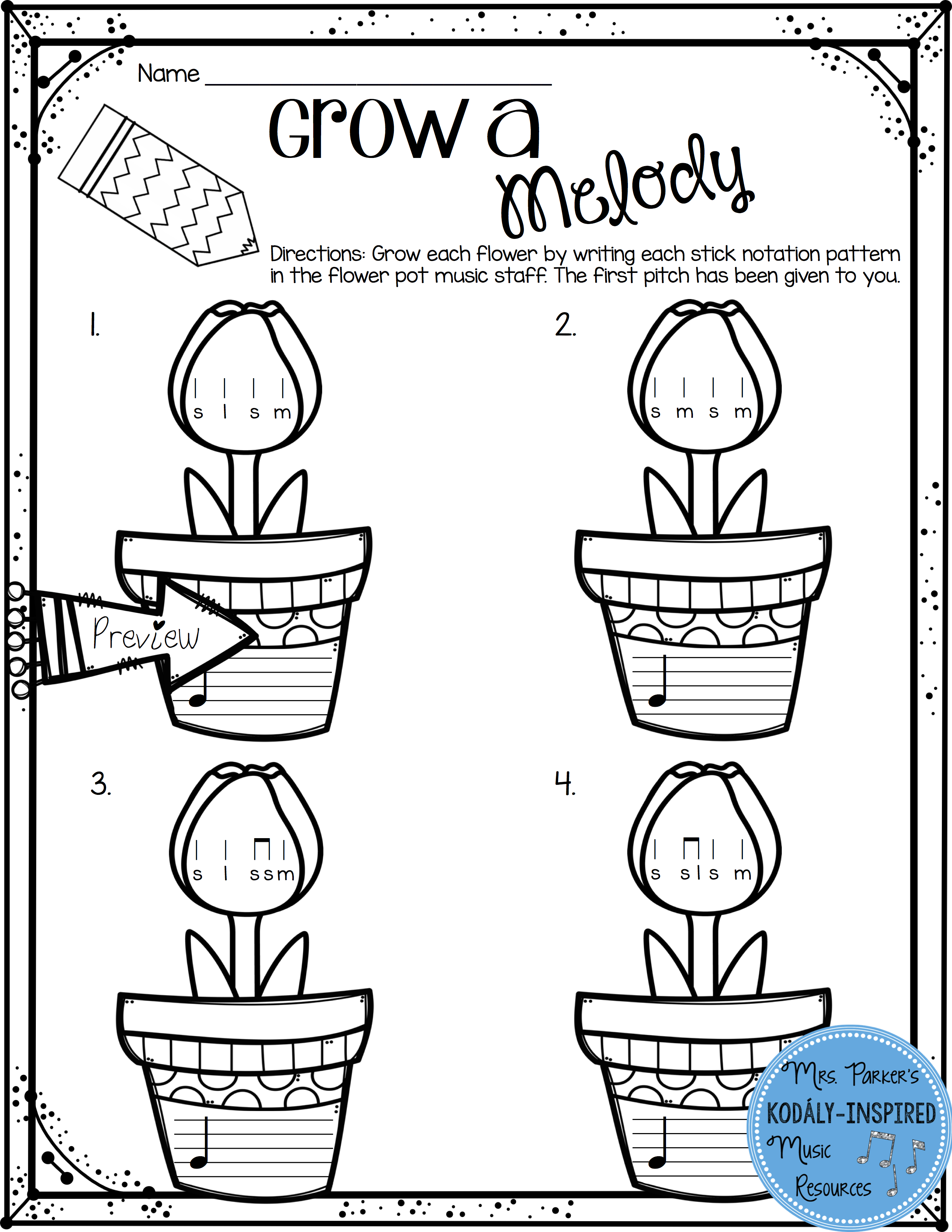 """Grow A Melody Worksheet From """"spring Rhythm And Melody"""