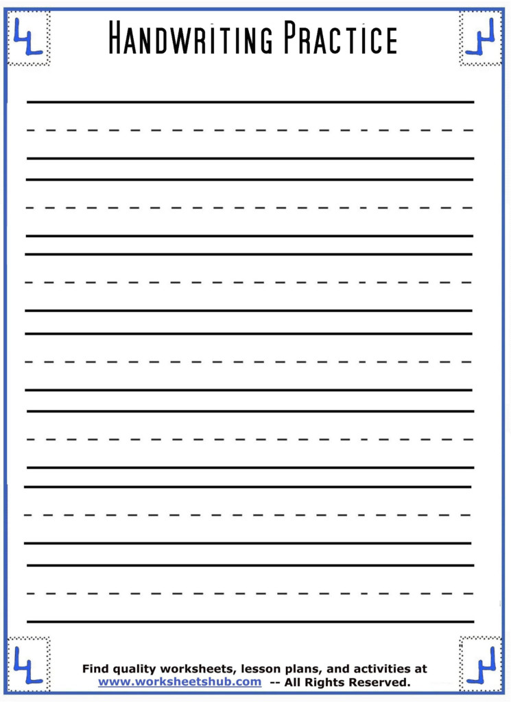 Handwriting Sheets:printable 3 Lined Paper