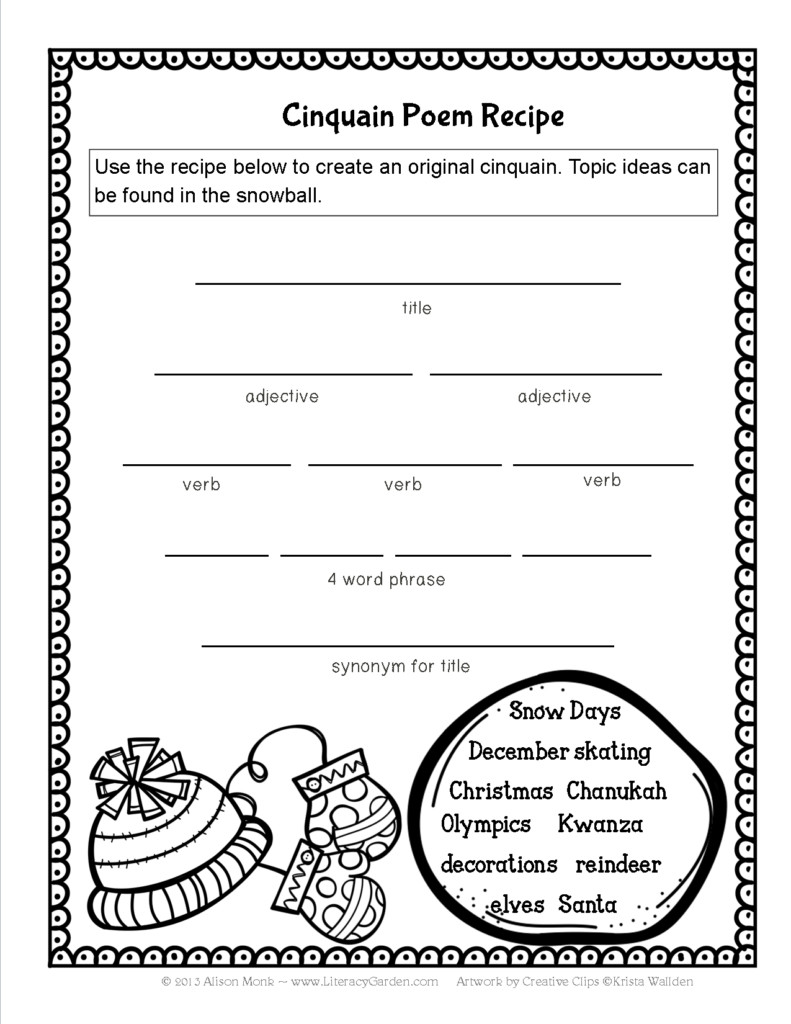 How To Write A Cinquain Poem Worksheet   Kids Activities