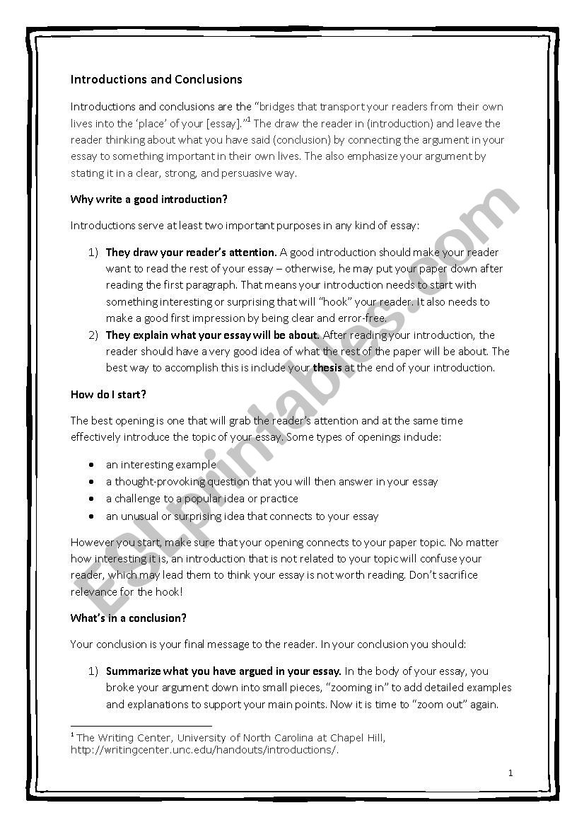 How To Write Essay Introductions And Conclusions - Esl