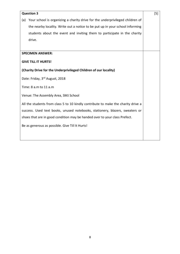 Icse Class 10 E Mail And Notice Writing Sample Paper 2020