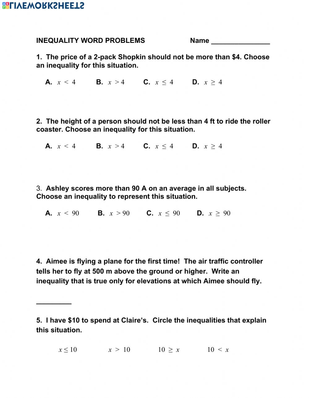 Writing And Solving Inequalities Word Problems Worksheet