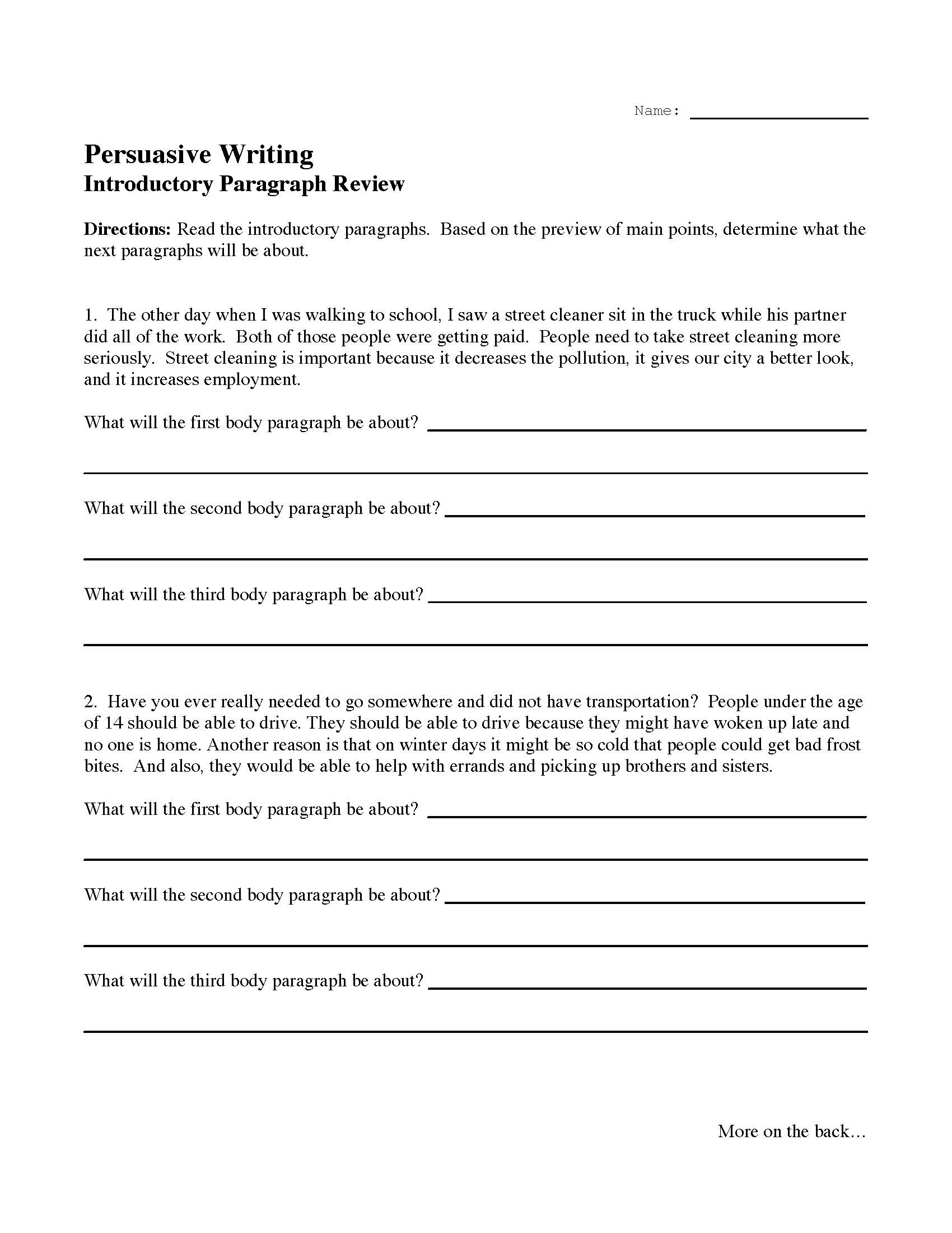 Writing An Introductory Paragraph Worksheet