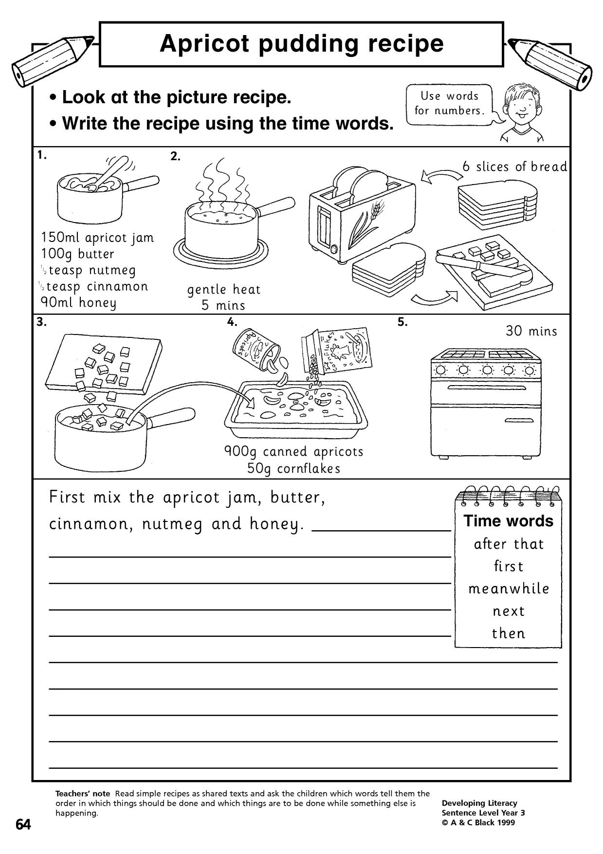 Writing Instructions Year 3 Worksheets