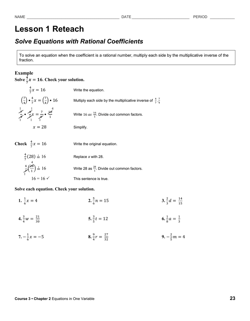 Writing Two Step Equations Worksheet Lesson 6 3