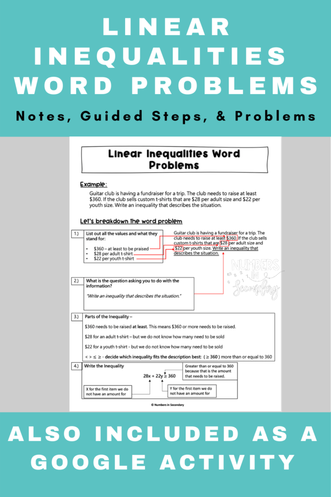 Linear Inequalities Word Problems Worksheet In 2020 | Middle