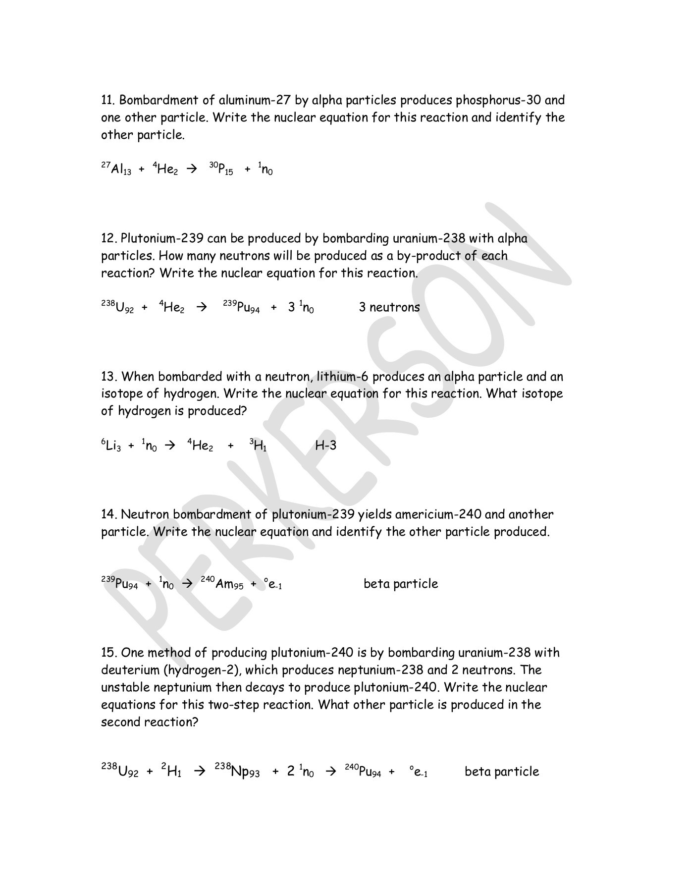Nuclear Equations Worksheet Answers - Typepad Pages 1 - 3