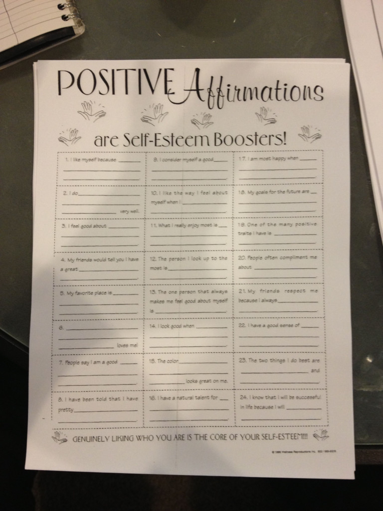 Positive Affirmations Worksheet. Something To Keep In Your