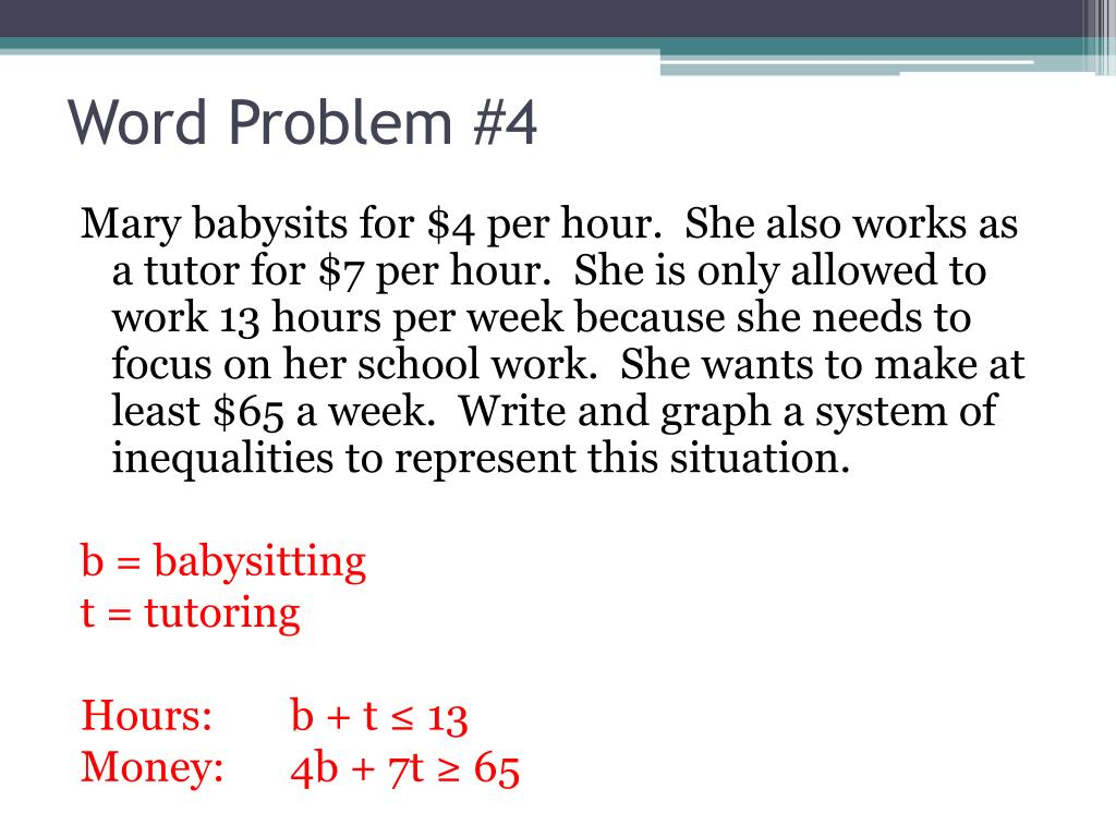 Ppt - Systems Of Linear Inequalities Word Problems