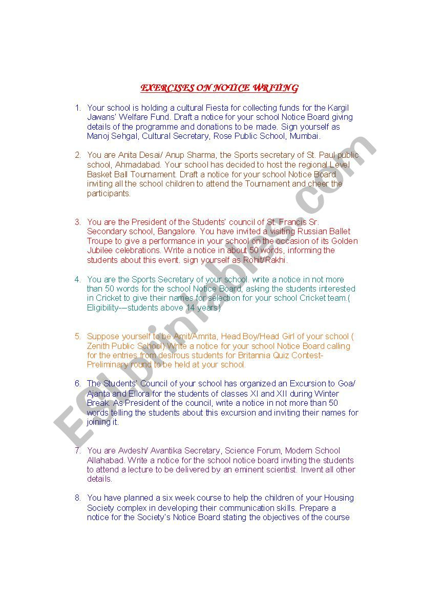 Notice Writing For Class 8 Worksheets