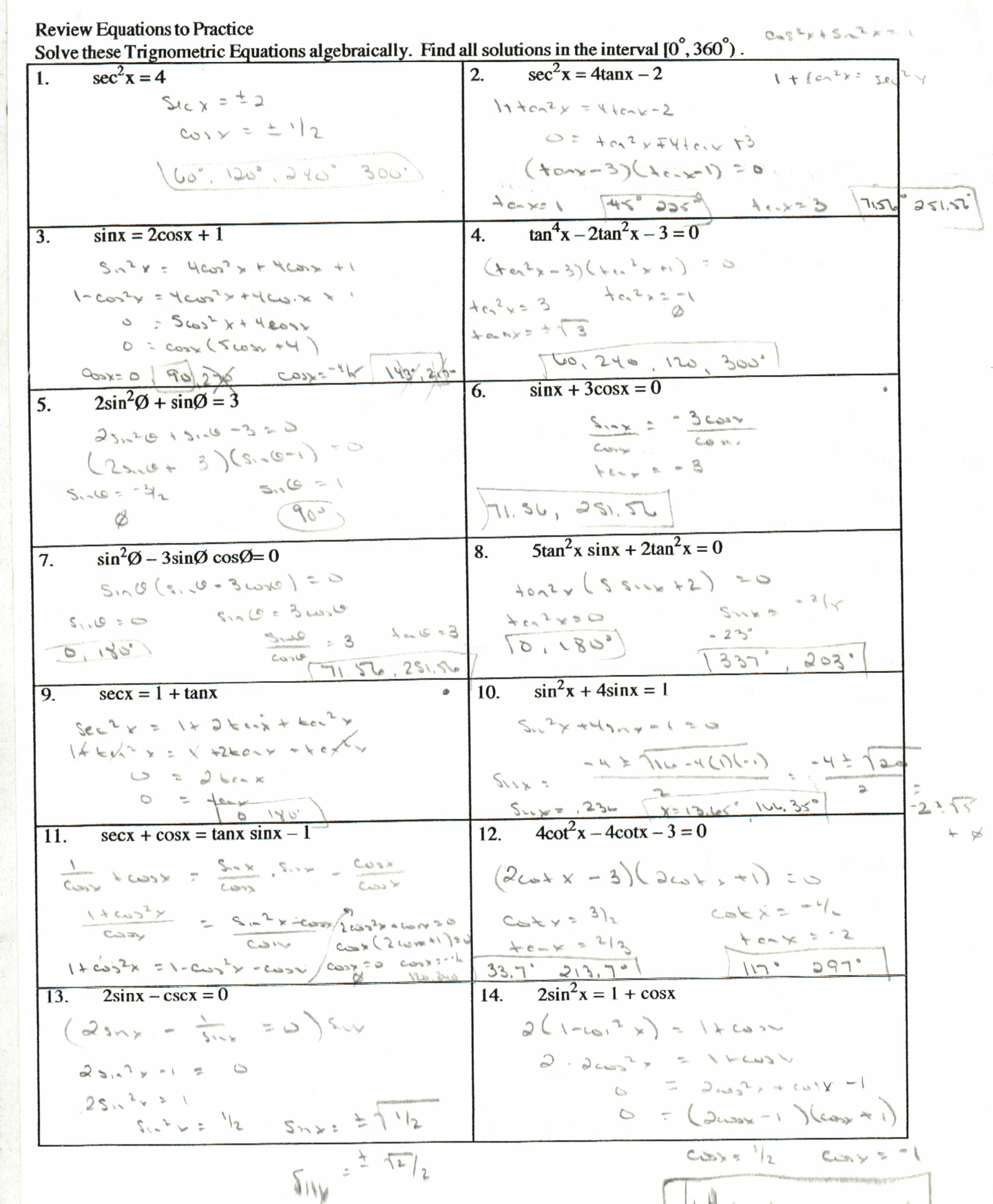 Practice Worksheet Writing Trig Equations Answers