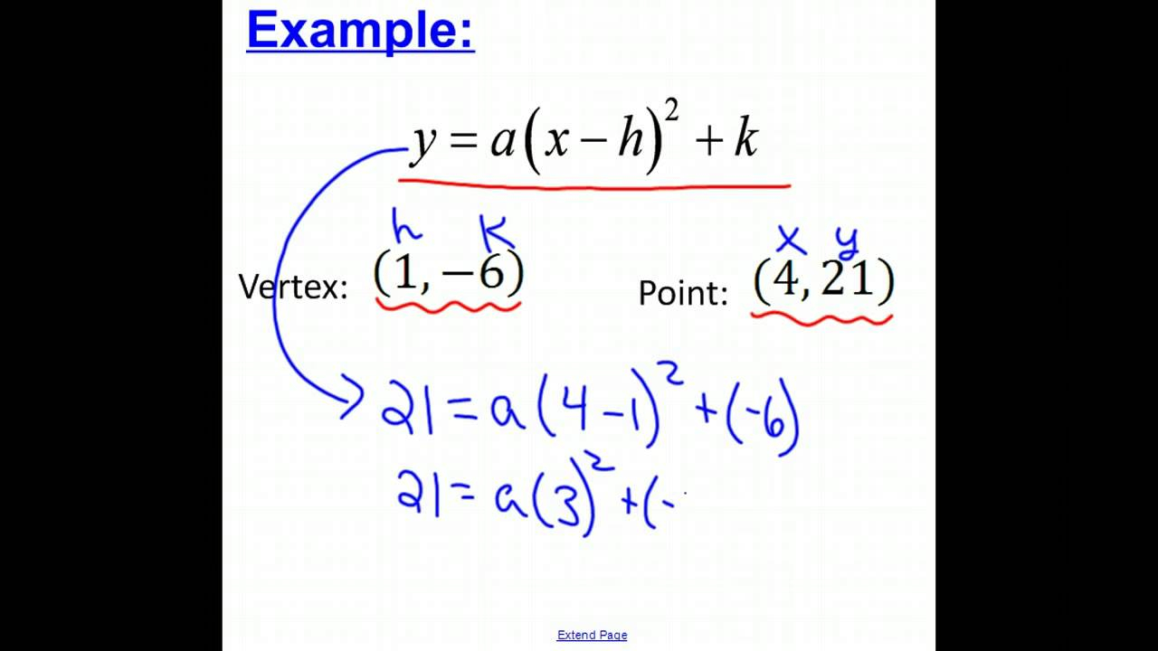 Quadratic Equation Given Vertex And Point