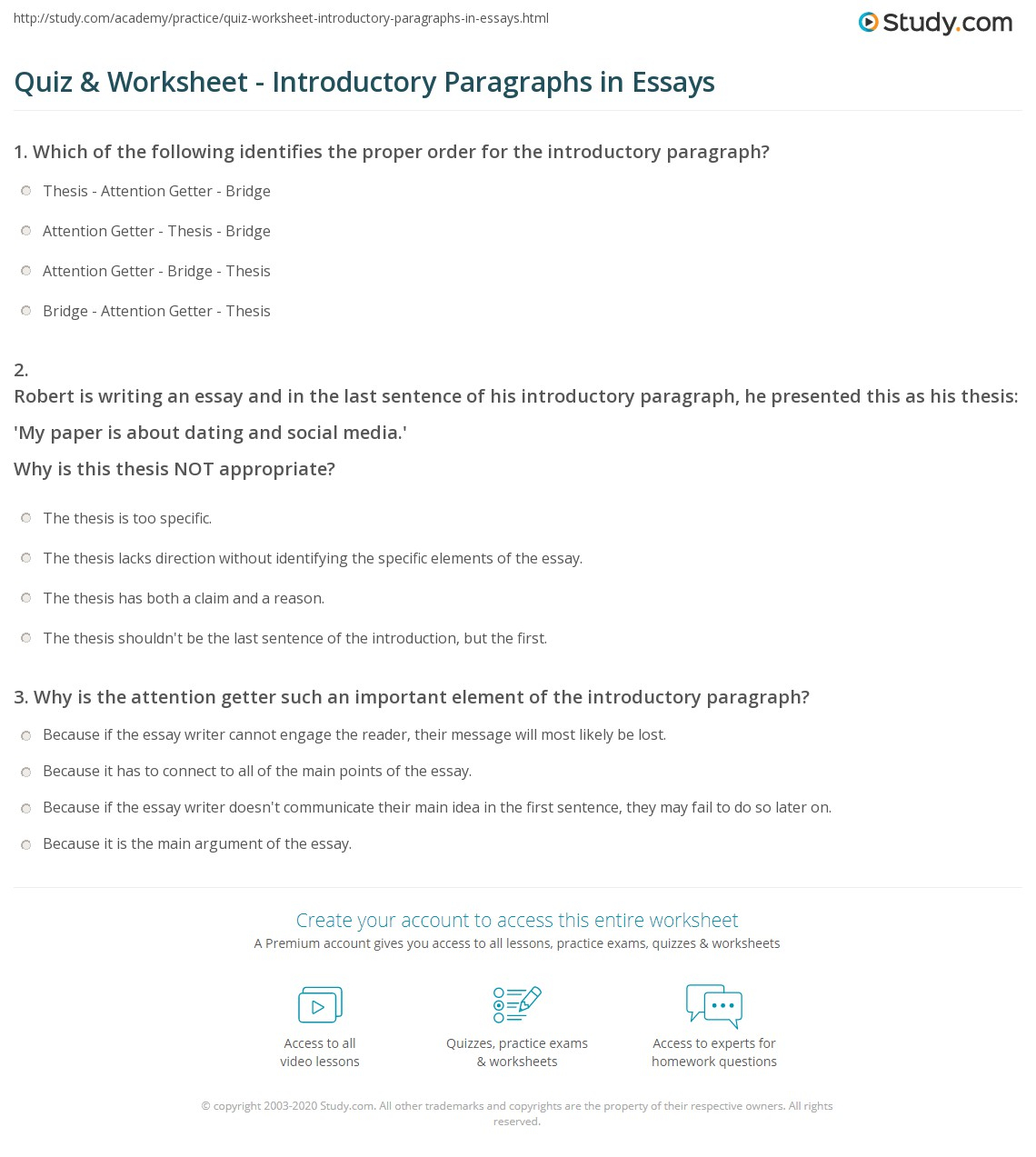 Quiz & Worksheet - Introductory Paragraphs In Essays | Study