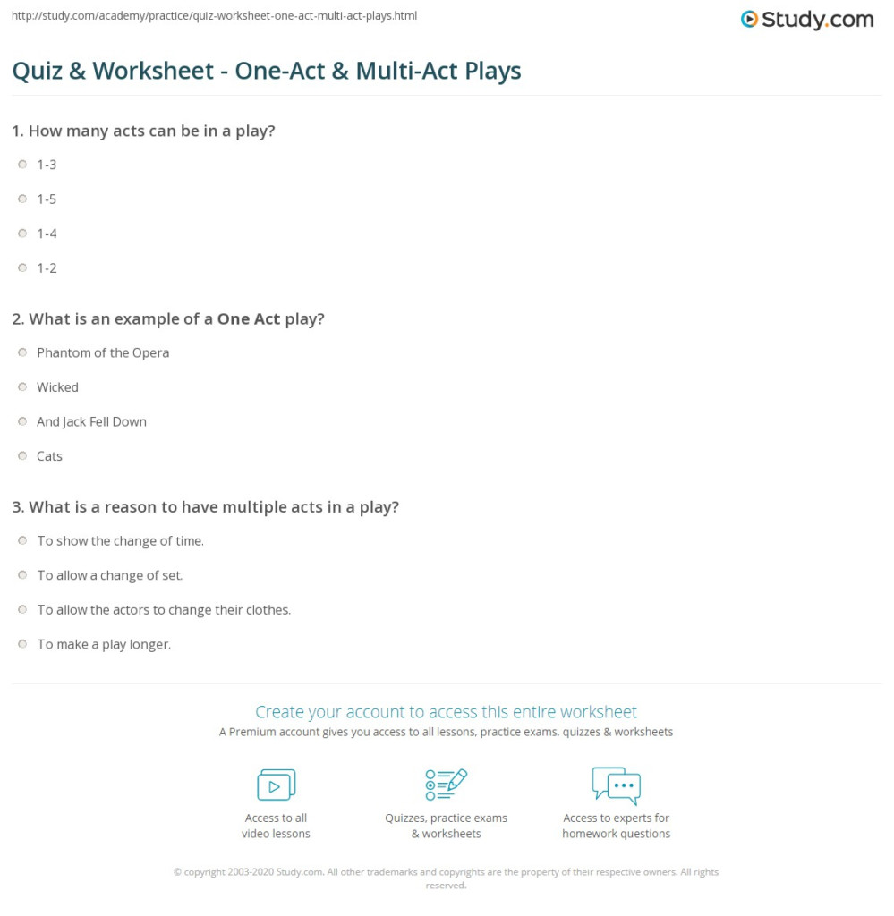 Quiz & Worksheet   One Act & Multi Act Plays   Study