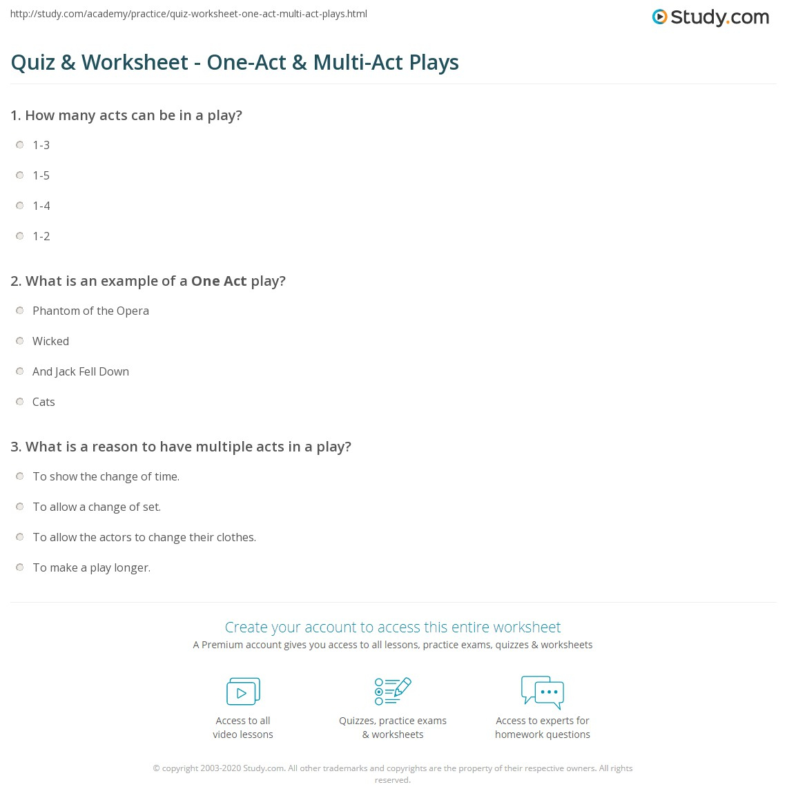 Quiz & Worksheet - One-Act & Multi-Act Plays   Study