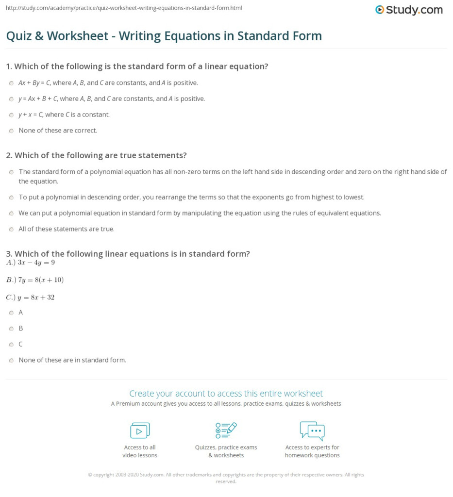 Quiz & Worksheet   Writing Equations In Standard Form