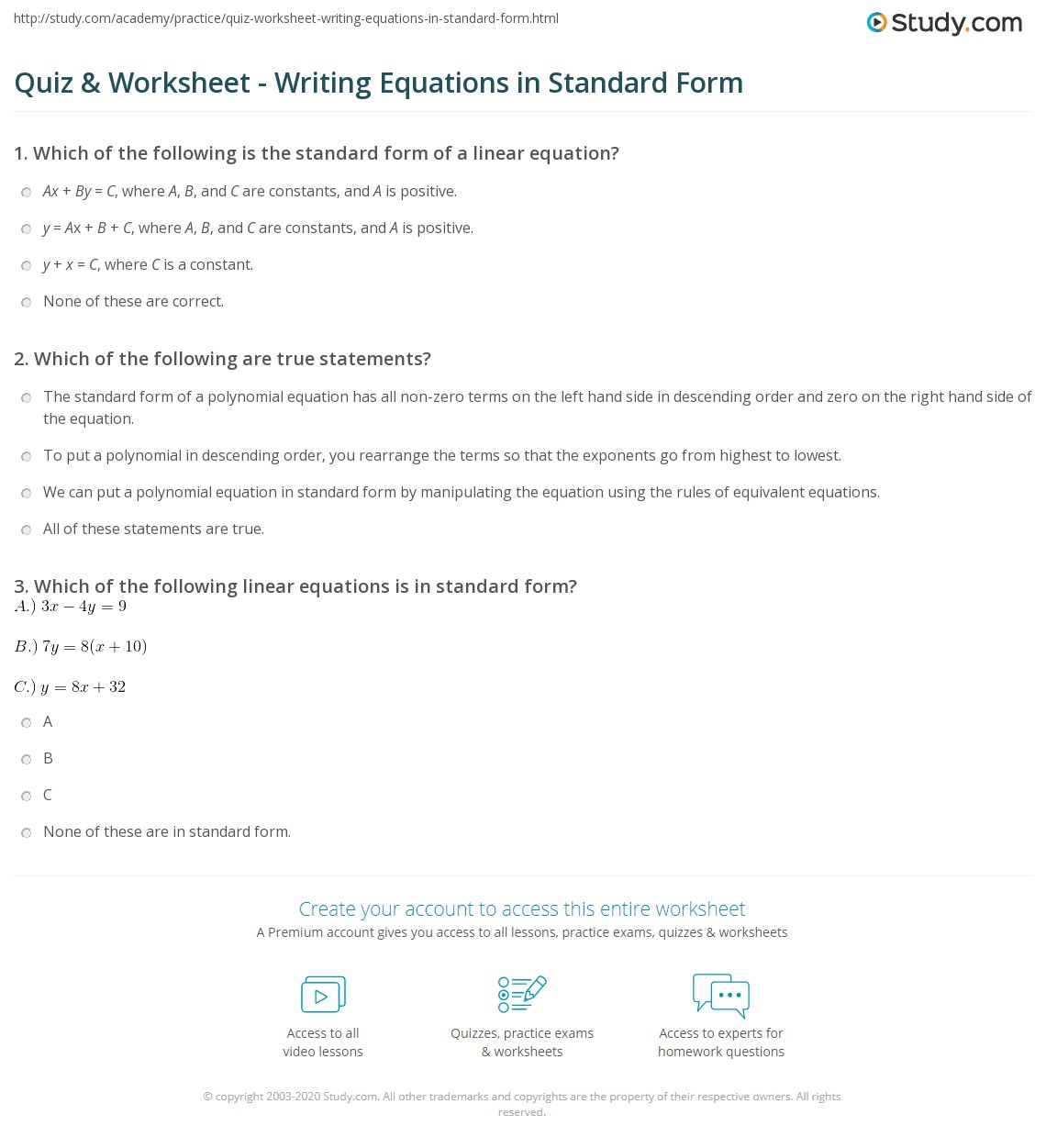 Quiz & Worksheet - Writing Equations In Standard Form