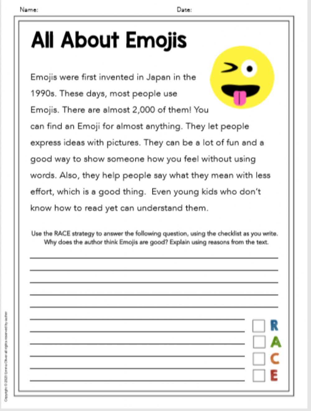 Race Writing Strategy Worksheets