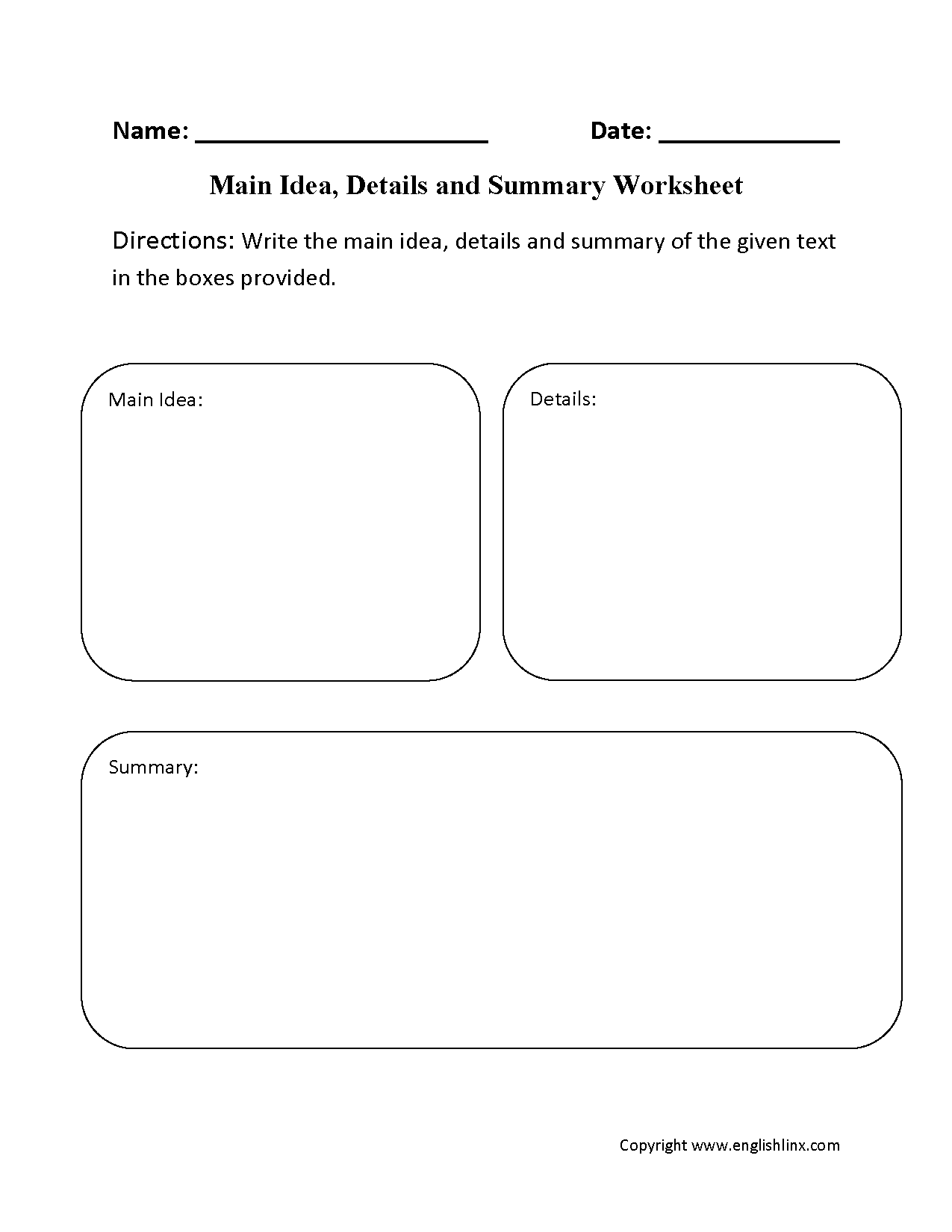 Writing Main Idea And Supporting Details Worksheets