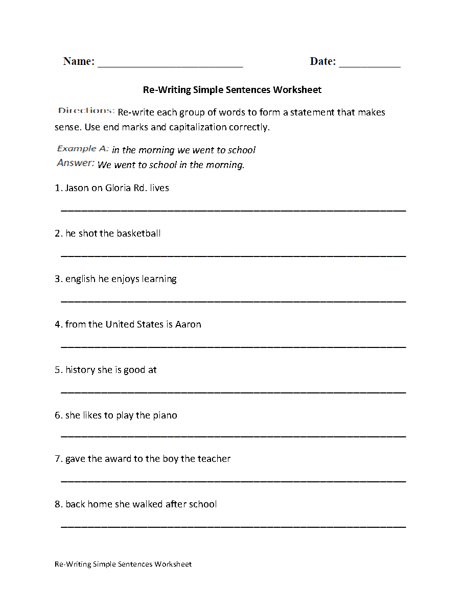 Sentence Writing Worksheets Middle School