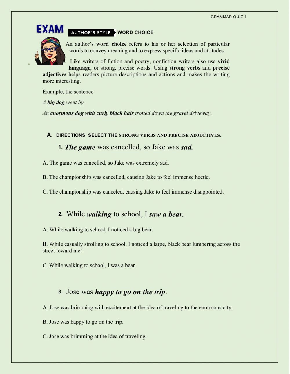 Strong Verbs And Define Adjectives Worksheet