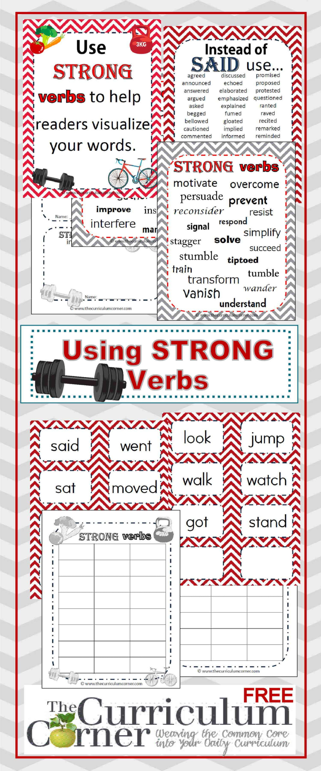 Strong Verbs In Writing - The Curriculum Corner 4-5-6