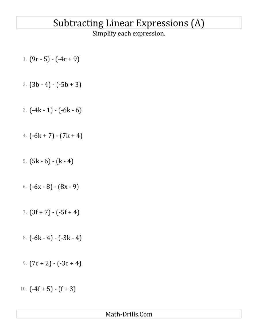 Writing Linear Expressions Worksheet