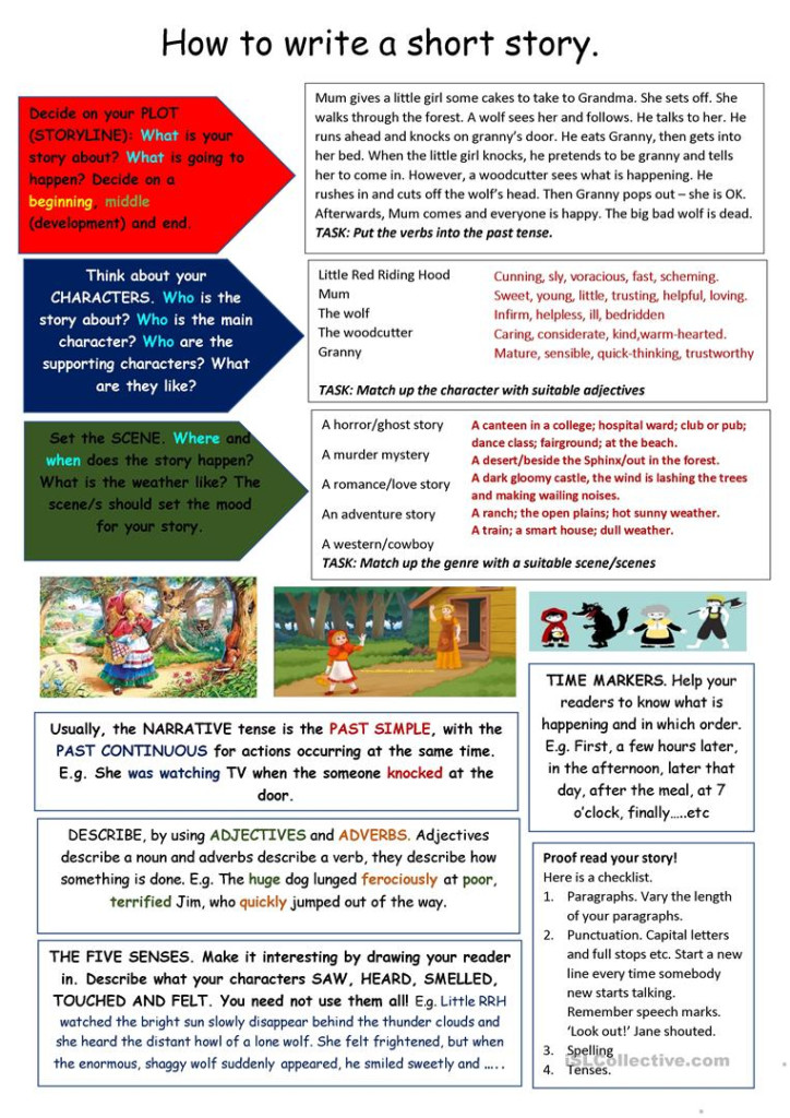 Tips On Writing A Short Story   English Esl Worksheets For