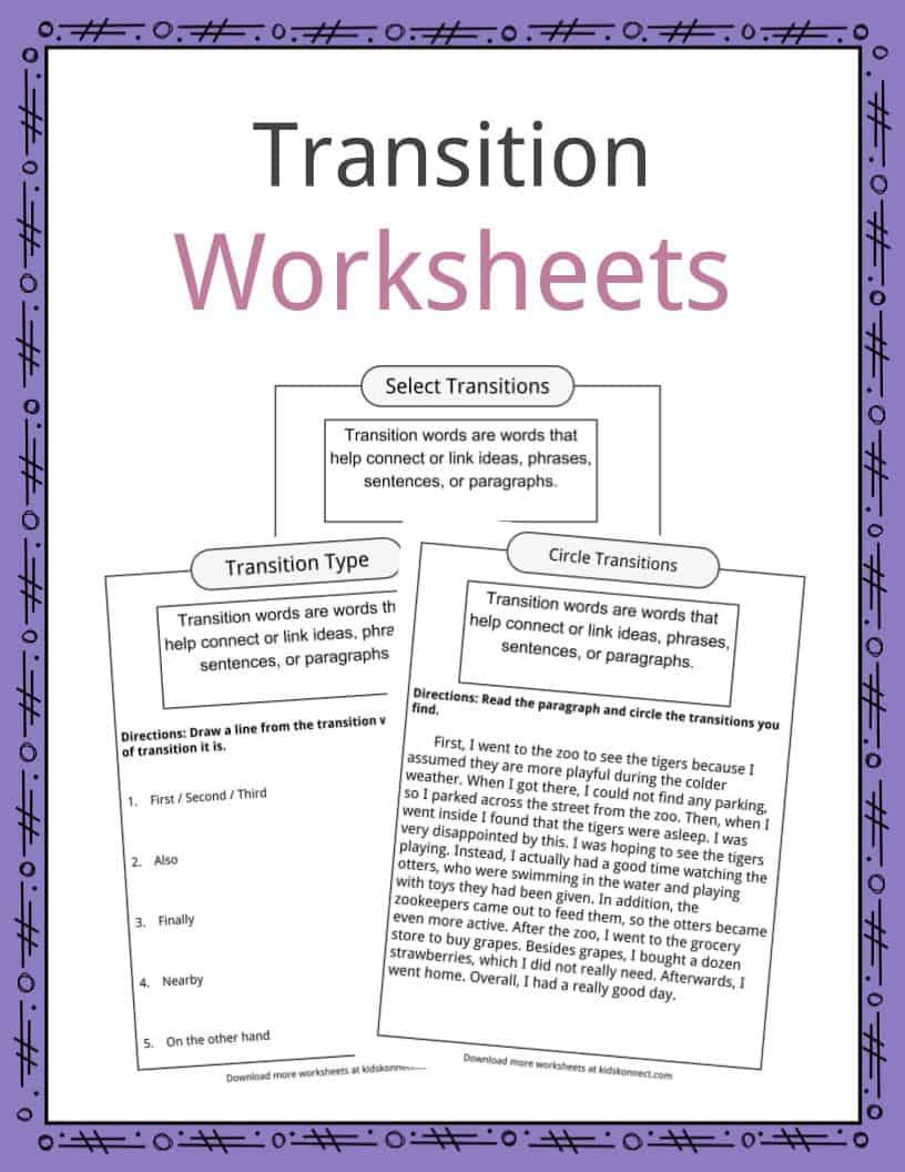 Transition Words In Writing Worksheet