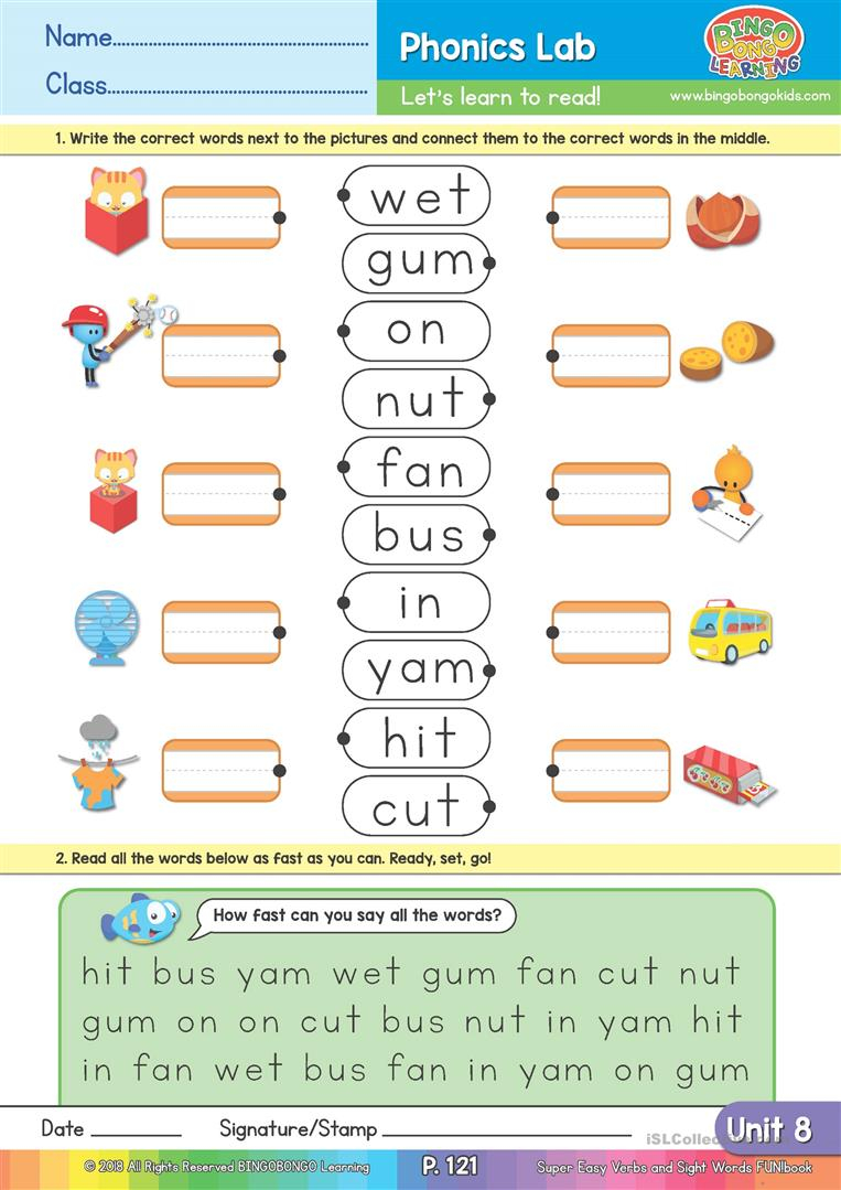 Two And Three Letter Word Matching - Bingobonic Phonics From
