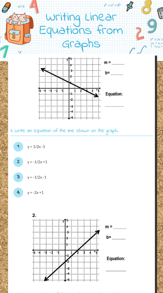 Wizer | Writing Linear Equations, Writing Equations