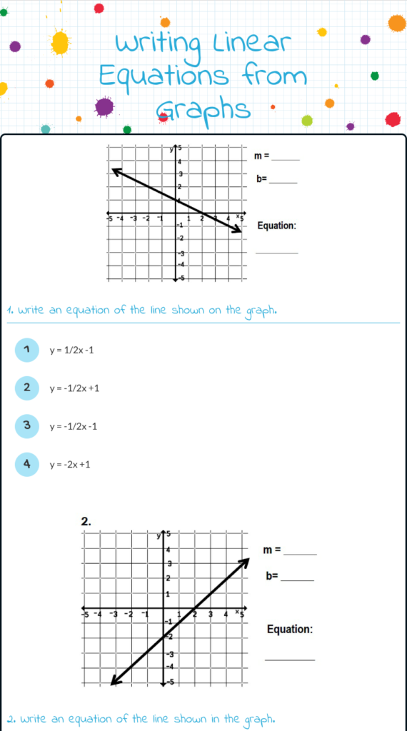 Wizer | Writing Linear Equations, Writing Equations, Free