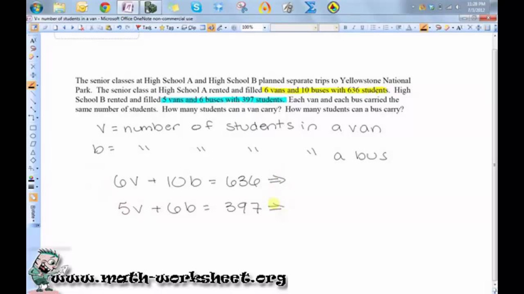 Word Problems Systems Of Equations And Inequalities