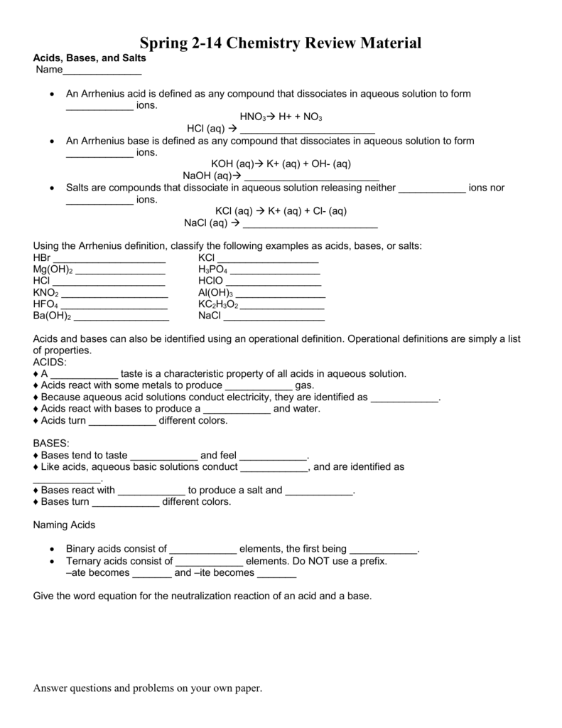 Worksheet: Acids, Bases, And Salts Review