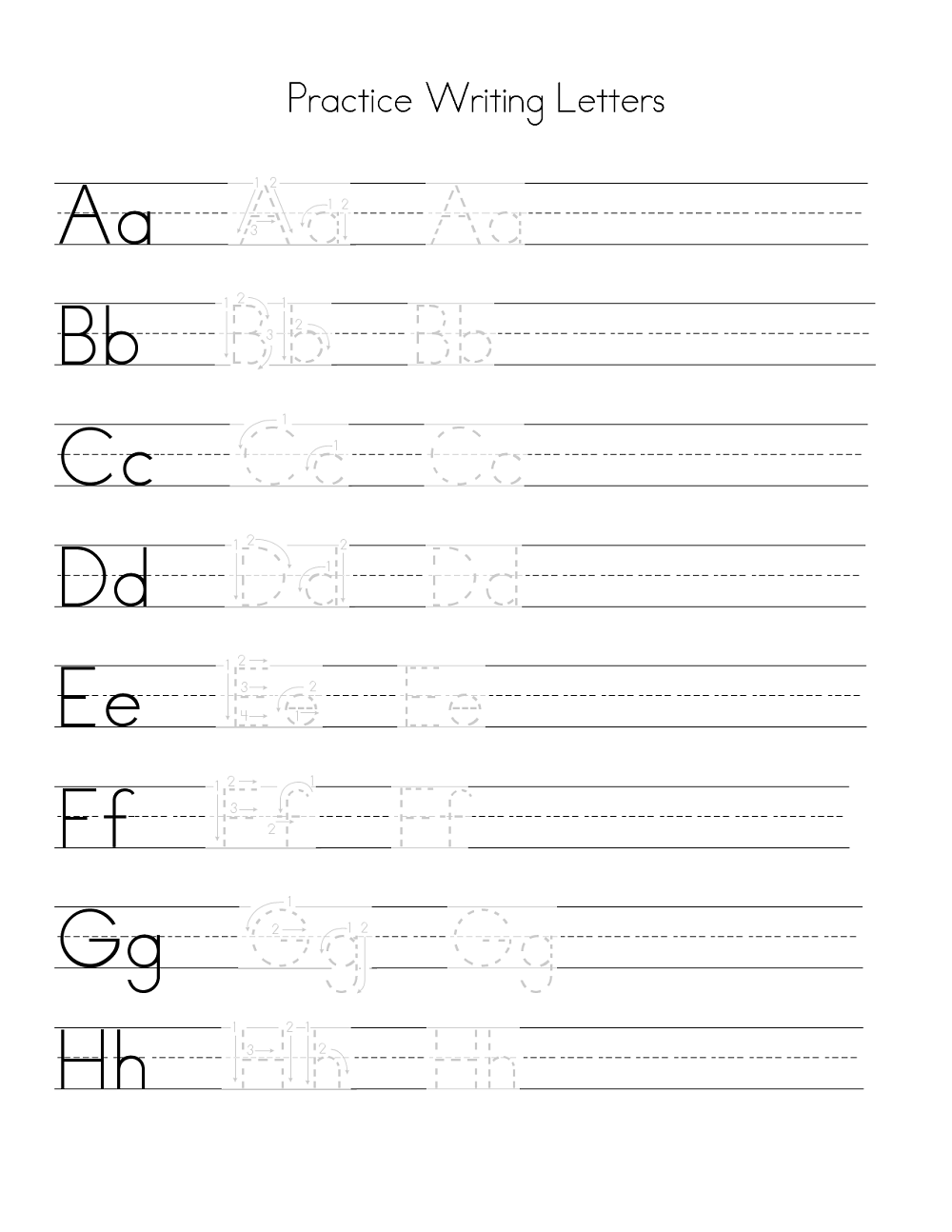 Free Letter Writing Practice Worksheets