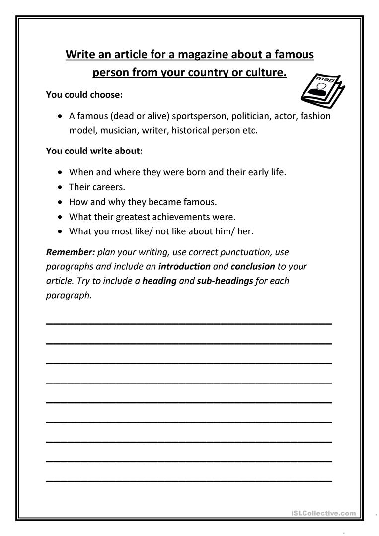Article Writing Worksheets