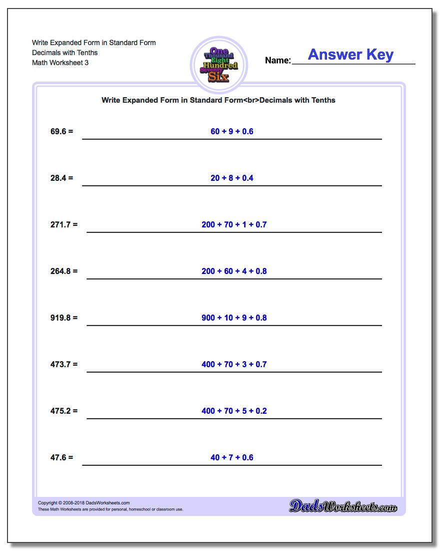 Writing Decimal Numbers In Expanded Form Worksheets