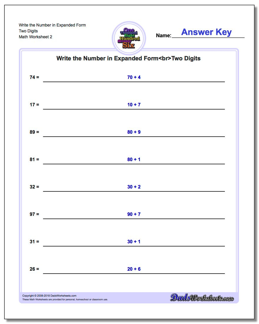 Writing Numbers In Expanded Form Worksheets For Grade 1