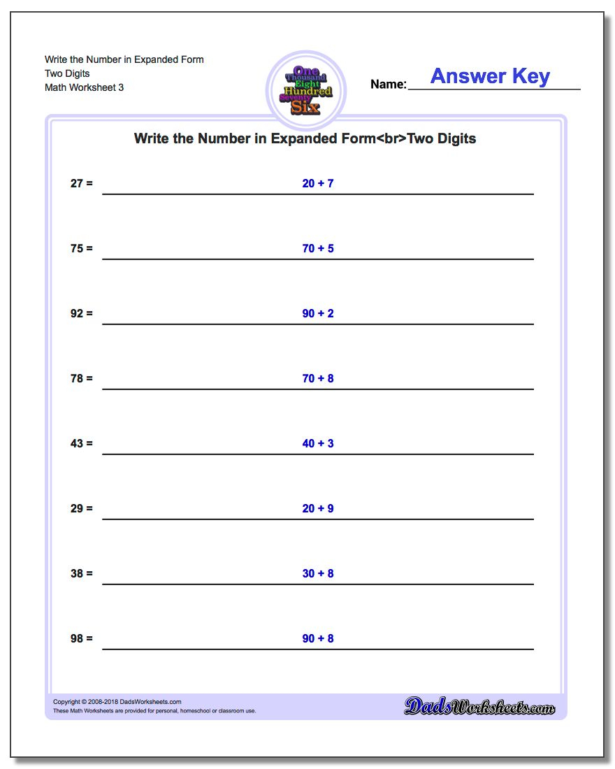 Writing Numbers In Expanded Form Worksheet