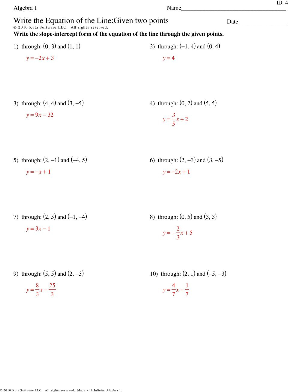 Writing Equations Given Two Points Worksheet Kuta Answers