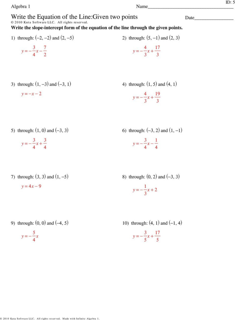 Write The Equation Of The Line:given Two Points   Pdf Free
